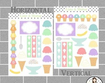Ice Cream Decorative Planner Stickers