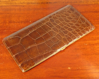 Vintage Leather Art Deco Crocodile Wallet Business Call Card Billfold Case C1950