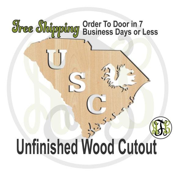 South Carolina- No. 60138- University Cutout, unfinished, wood cutout, wood craft, laser cut shape, wood cut out, Door Hanger, wooden