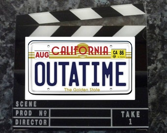 Outatime Licence Plate Clapperboard Style Fridge Magnet. Inspired by Back to the Future