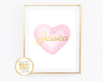 Custom Name Print, Gold, Silver, Glitter, Water color heart, Decor, wall art, Nursery, Child's Room, Playroom,  Bedroom