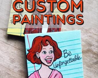 "Custom Mini Inspirational Celebrity Cartoon / Caricature Paintings (4"" x 4"")"