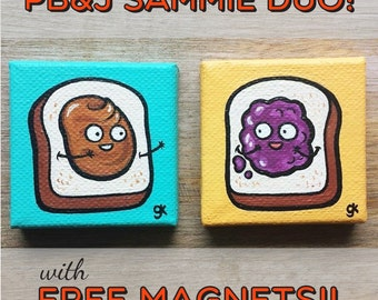 "Peanut Butter and Jelly Painting / Mini Cute Peanut PB&J Sandwich Paintings Set of 2  (2"" x 2"")"