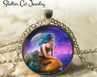 """Mermaid and the Sea Necklace - 1-1/4"""" Round Pendant or Key Ring - Handmade Wearable Photo Art Jewelry - Woman, Fairytale, Charming Gift"""