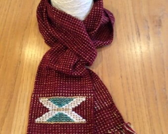 Handwoven ruby red chenille scarf with geometric design
