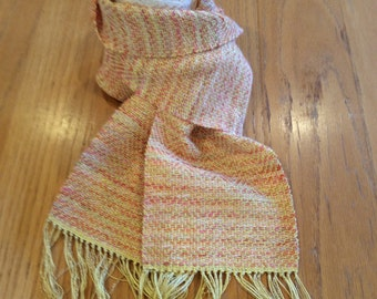 Handwoven Sunset rayon/cotton scarf