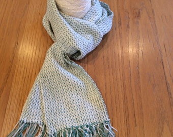 Handwoven turquoise and white chenille scarf