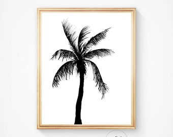Palm print, Palm silhouette, Palm tree silhouette,Palm tree print, palm art, Palm print, Palm tree art, Beach art, Summer decor, Beach decor