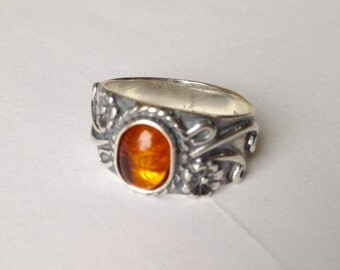 Silver gem ring, Dominican Amber, sterling ring, sterling jewelry, amber ring, amber jewelry, orange ring, orange jewelry, size 7, 2022