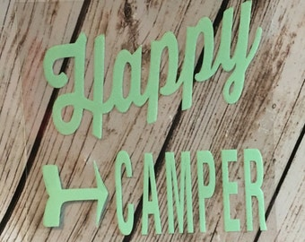 Do it Yourself IRON-ON Happy Camper Decal/we love camping/camping life/iron on camping decal/iron on decal/camping /camping decal