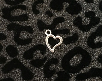 10 Silver Tone Heart Charms