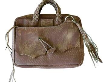 Boho Leather Laptop bag / laptop shoulder bag / laptop bag women / laptop case / laptop messenger bag /messenger bag / leather laptop bag