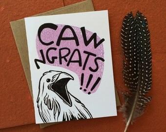 Caw-ngrats Greeting Card