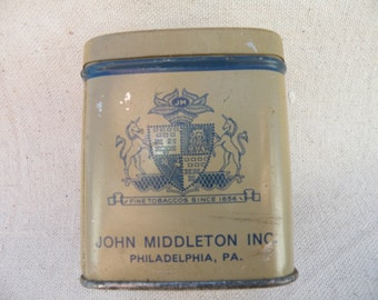 Tobacco Canister, John Middletons Fine Tobacco Can, Small Tobacco Canister, Tobacco Stamp Attached