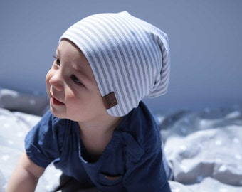 Bambeanie - Grey Stripes - Slouchy beanie - Slouchy hat - Bamboo hat - Kids hat