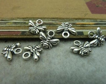 BULK 100 Small Dragonfly Charms Antique Silver Tone  - DYS6541