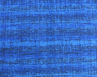 Vintage Retro Blue Cotton Fabric Piece 120cm x 136cm mid century Bernard Wardle