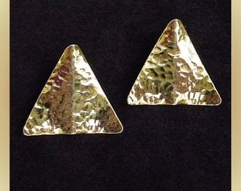 Vintage Triangle Goldtone Earrings