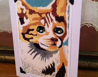 Vintage Paint by Number Blank Greeting Card - Cat Kitten