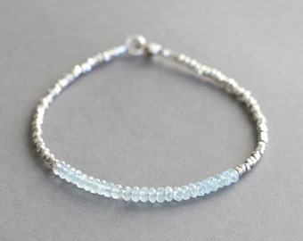 Aquamarine Bracelet With Karen Hill Tribe Silver Beads