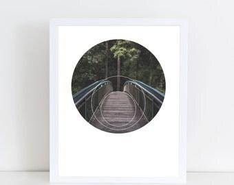 Circular Bridge Art Print - Inspirational Forrest Wall Art, Jungle Adventure Geometric Photography Art, Printable Nature Landscape Poster