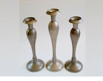 Vintage Candle Holders Set Of 3, Brushed Nickel Finish Candle Holders, Brushed Satin Candle Pillar, Wedding Candle Holders