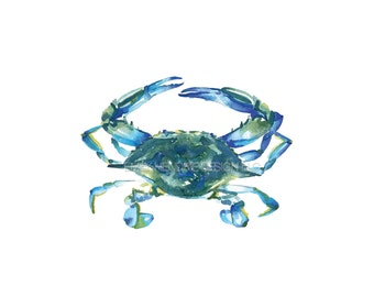 Blue Crab Watercolor Beach Art Print