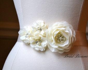JULIA Ivory Chiffon Flower Bridal Sash | Fabric Flowers Wedding Dress Sash | Bridal Belt | Ribbon | Bridesmaids | Cream | Pearl Rhinestone