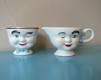 Bailey's Collectible Limited Edition 1996 Yum Sugar Bowl and Creamer Set, Winking Man and Lady Creamer and Sugar Bowl Set