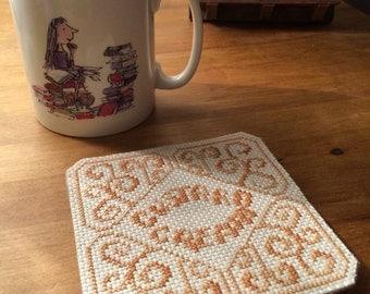 Custard Cream hand-stitched biscuit coaster