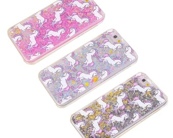 Unicorn Stars Liquid Moving Glitter 3D Bling iPhone 6/6s Case Cover NEW COLOURS!