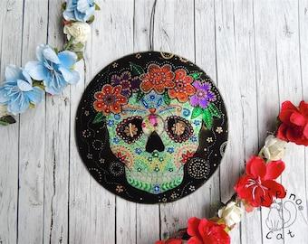 Day of the Dead Decoration, sugar skull decor, holidays decor, Halloween wall hanging, calavera, Dia de los Muertos, macabre art