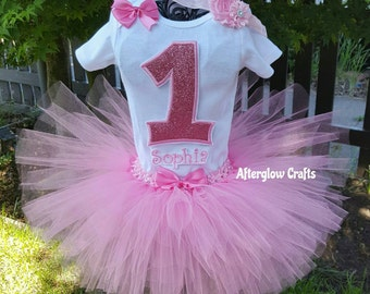 Pink Glitter Birthday Tutu, Pink Glitter First Birthday Tutu, Pink Glitter Tutu, 1st Birthday Glitter Tutu Set, Glitter Tutu Set,