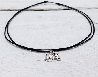 Elephant necklace, elephant choker, black choker with elephant charms on simple adjustable black or white cord by Serenity Project