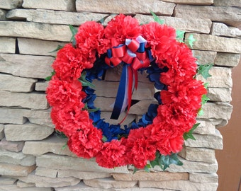 Memorial wreath in red, white and blue