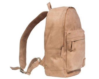 Suede Leather Backpack Rucksack in Vintage Cognac by MAHI Leather