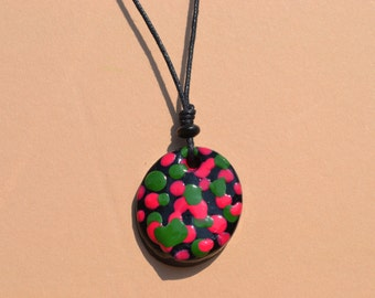 Handmade air dry clay necklace. Hand painted jewelry. Mixed media painting.