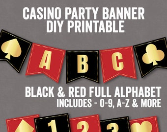 Casino Night Party Printable Decor, Casino Bunting, Diy party night banner, diy banner printables, instant download, gold red black