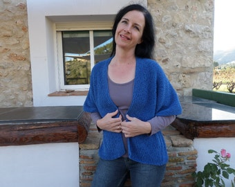 hand knitted blue cardigan