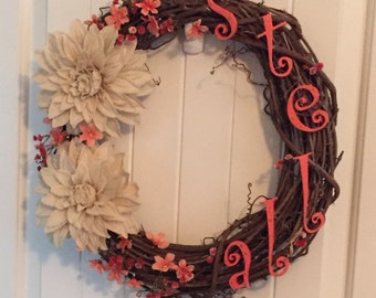 Grape Vine Wreath with Name