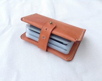 Leather book holder etsy leather card book credit card holder business card case leather card organizer reheart Image collections