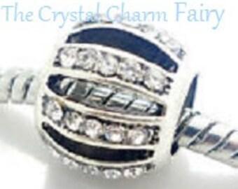 Clear Crystal LEADING LADY Charm Bead Silver European Charm Big Hole European Beads Fits / Pandora / Large Hole / Charm Bracelets -