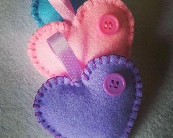 Hand Stitched Felt Hearts. Set of 3
