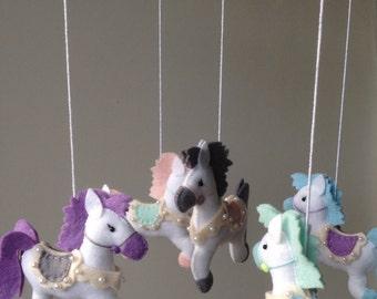 Horses/Hearts Mobile-Nursery Decor-Crib Mobile- Cot Mobile-Baby Shower Gift-Newborn Gift-Custom Made