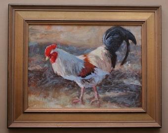Rooster, Original Oil Painting, Framed