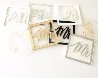 Set of 2 Mr and Mrs Coasters, Personalized Wedding Gift, Acrylic Coasters, Laser Cut Coasters, Wedding Gifts for Couple, Drink Coasters