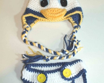 Hand Made Donald Duck Inspired Baby Hat and Diaper Cover Set