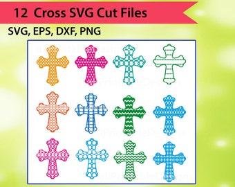 Cross SVG files, Patterned Christian Cross Svg, Christian Cross Svg Cut Files, Silhouette Cameo, Instant download, Digital Files