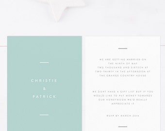 Green Wedding Invitation - postcard size. Modern wedding invitation. Simple wedding invitations.