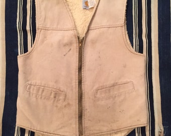 Vintage 1980s Carhartt Sherpa Lined Vest Size S/M Union Made In USA